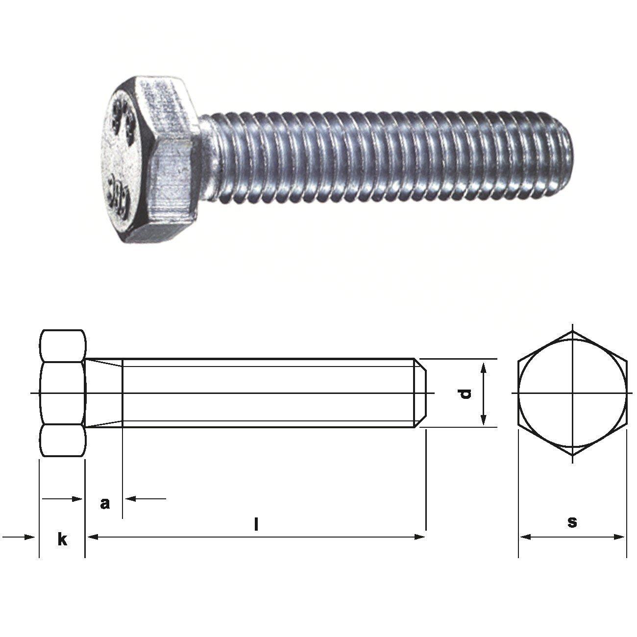 Sechskantschrauben 8.8 mit Gewinde bis Kopf DIN 933 galv M 12 x 16-100 St/ück verzinkt DIN 933