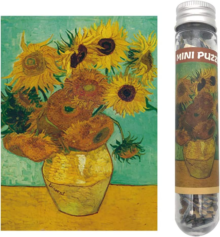 Small Jigsaw Puzzles for Adults Challenging Puzzle Difficult Puzzles Oil Painting Sunflower by Van Gogh Tiny Mini Jigsaw Puzzles 150 Pieces Toys Gift Home Decor Entertainment 6 x 4 Inches
