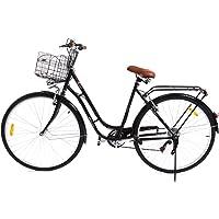 Paneltech 28 Pouces Ville pour Femme Homme de Vélo, Vélos de Ville Vélo Hollandais à 7 Vitesses Femme City Bike, avec Panier et Feu Avant