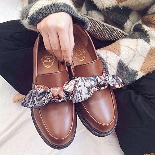Btrada Mode Féminine Bowknot Ruban Glisser Sur Les Mocassins De Penny Bout Rond Mocassins Chaussures De Conduite Chaussures Plates Marron