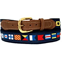 Skippers Nautical Code Flag Belt on Navy Webbing