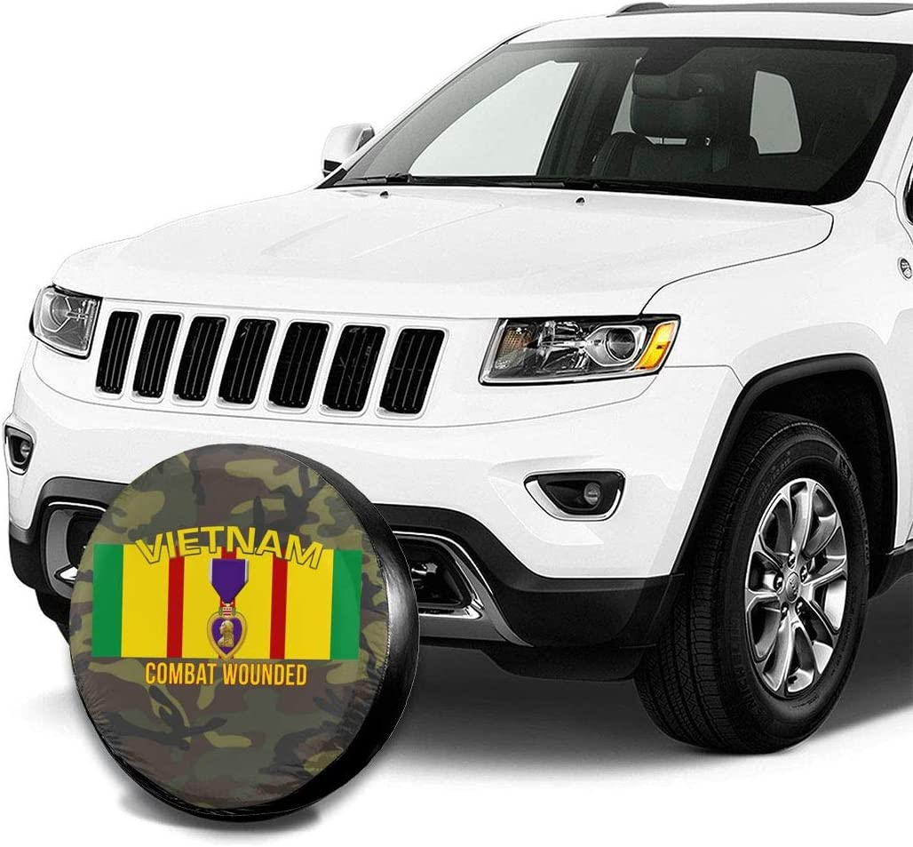 JINGUIluntai US Vietnam Veteran Combat Wounded Purple Heart Tire Cover Spare Wheel Tire Cover Wheel Covers for Car SUV