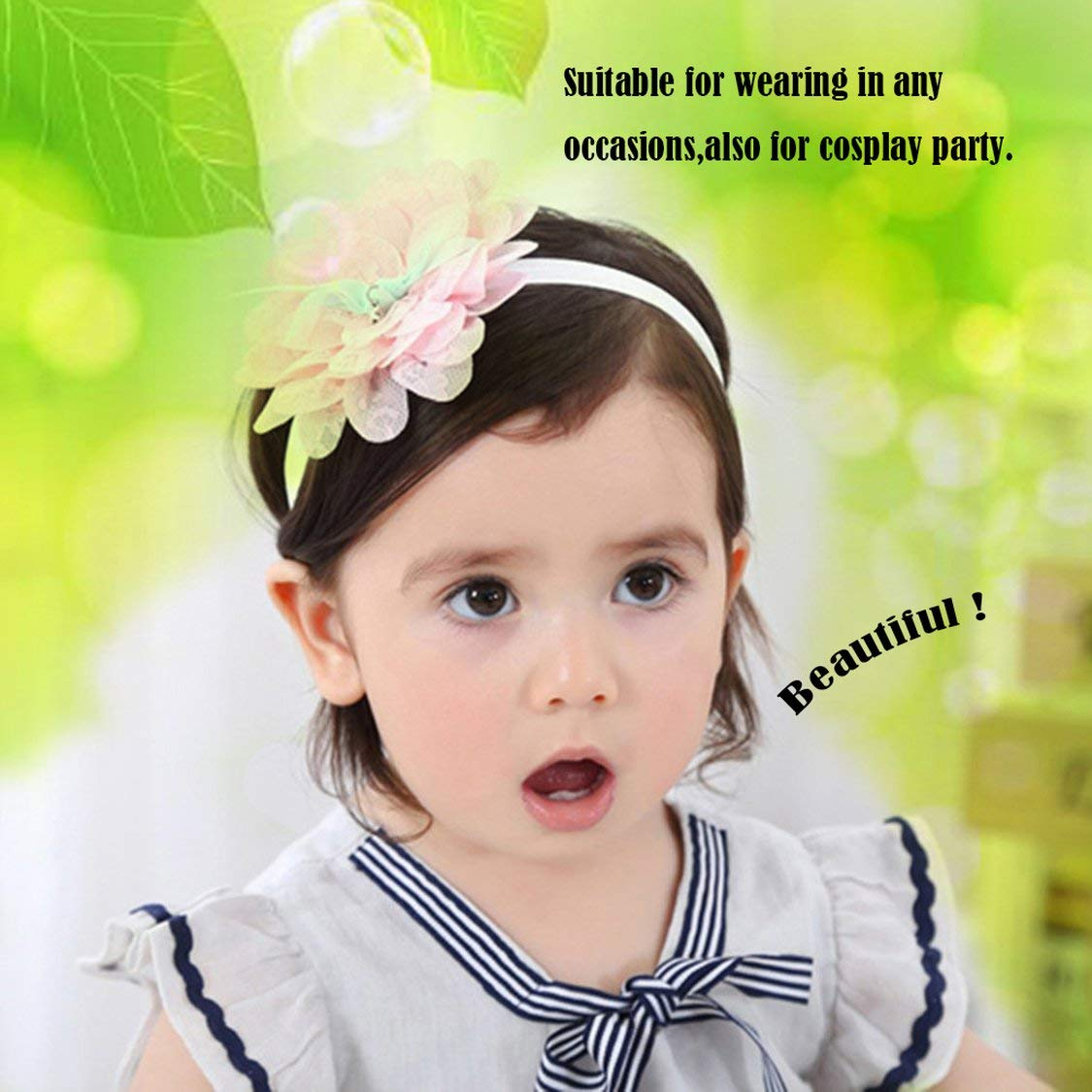 Diadema para beb/é hermosa reci/én nacida Diadema el/ástica para beb/és Tocado para ni/ños Flor de encaje Banda para el cabello Chica Accesorios para el cabello