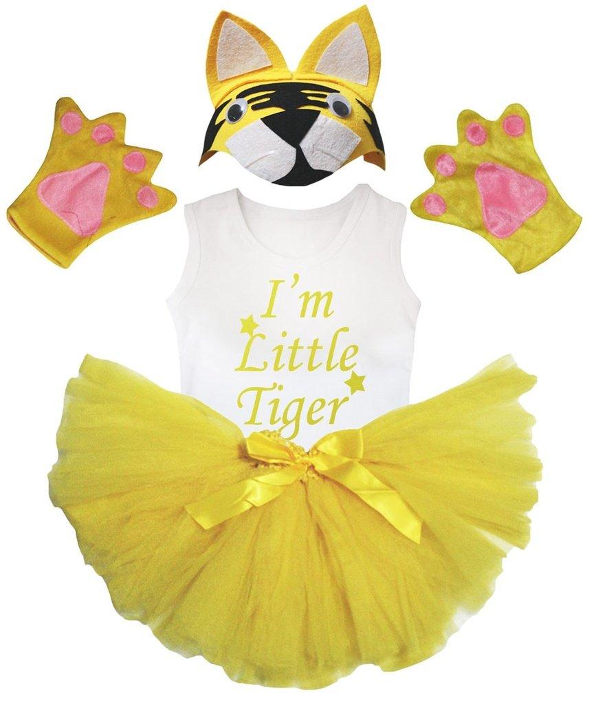 Petitebelle Soy camisa pequeño tigre sombrero amarillo guante de la falda del traje de la muchacha de 4 piezas 1-2 años Amarillo blanco