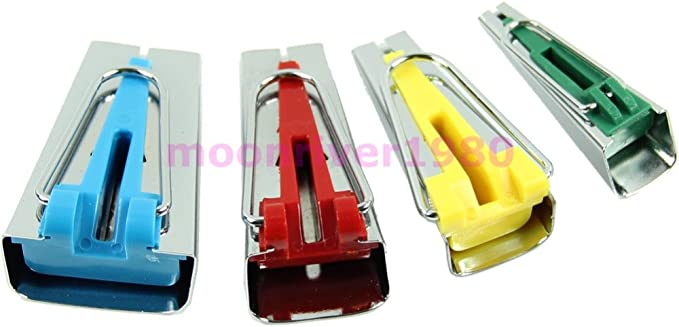 YICBOR Set of 4 sizes Bias Tape Maker 6mm 12mm 18mm 25mm Fabric Sewing Quilting Bias Binding Maker