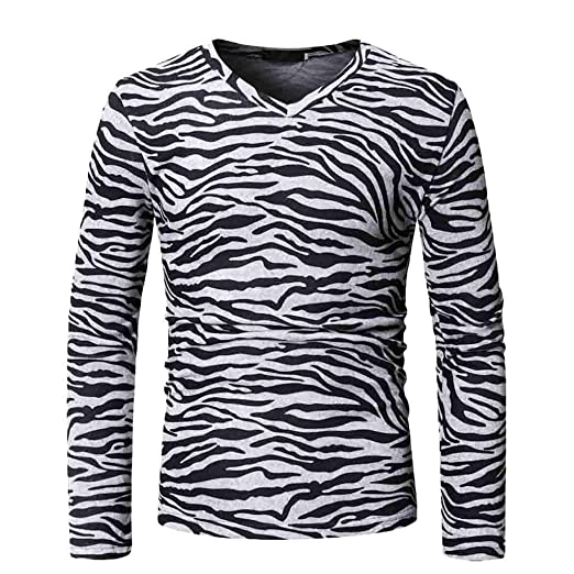 86930f6ac7c Men s Casual Graphic Printed Slim Fit Long Sleeve T-Shirt Soft V Neck  Pullover Tops