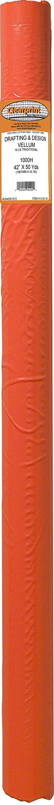 Clearprint 1000H Design Vellum Roll, 16 lb., 100% Cotton, 42 Inches W x 50 Yards Long, 1 Each (10101161)