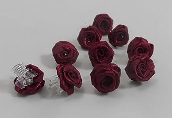 10 Rosen Bordeaux Klemmen Haarschmuck Kopfschmuck Hochzeit