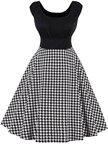 LUNAJANY Women's Retro Classic Black Houndstooth Print Fit and Flare Swing Dress S (Black Houndstooth Print)