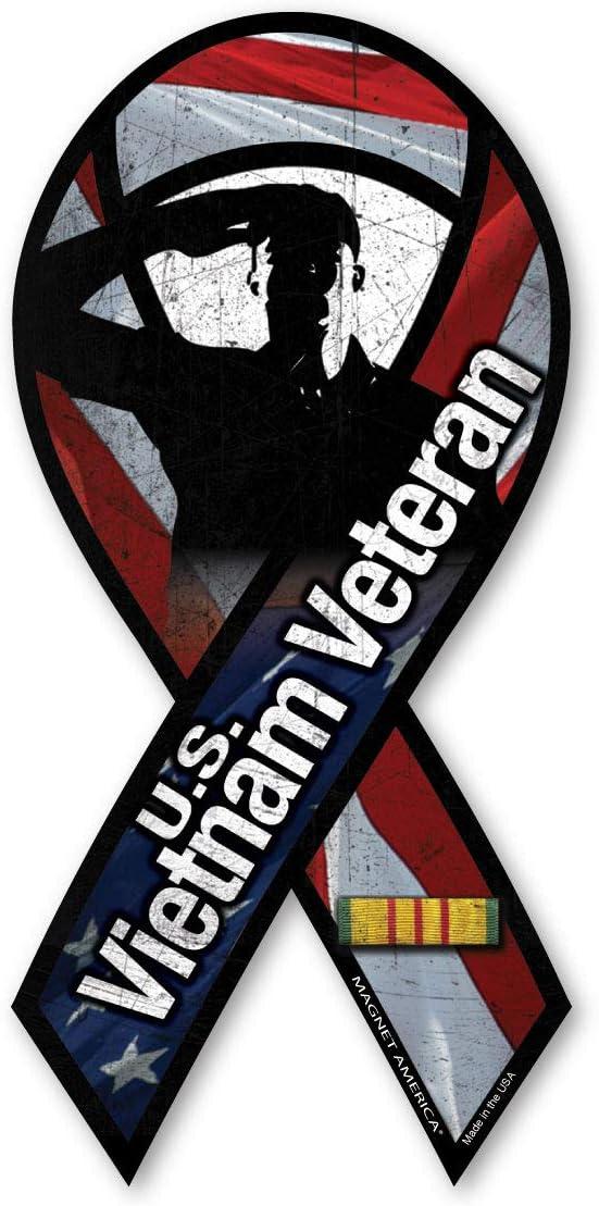 Vietnam War Veteran Salute Large Ribbon Magnet