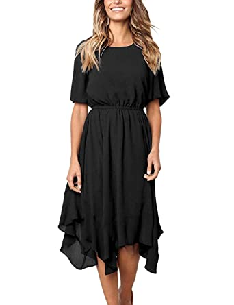 51129a3e557 Kalin Women Chiffon Midi Dress Casual Summer Asymmetrical Short Sleeve  Pleated Swing Dress Black
