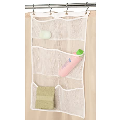 Mesh Shower Caddy,Quick Dry Hanging Bath Organizer With 6 Pockets, Hang On  Shower