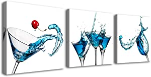 Gardenia Art - Blue Cocktails Wine Canvas Paintings Kitchen Decorations Theme Sets Wall Art for Dining Room bar Decor 12x12 inch/Piece, Framed, 3 Panels