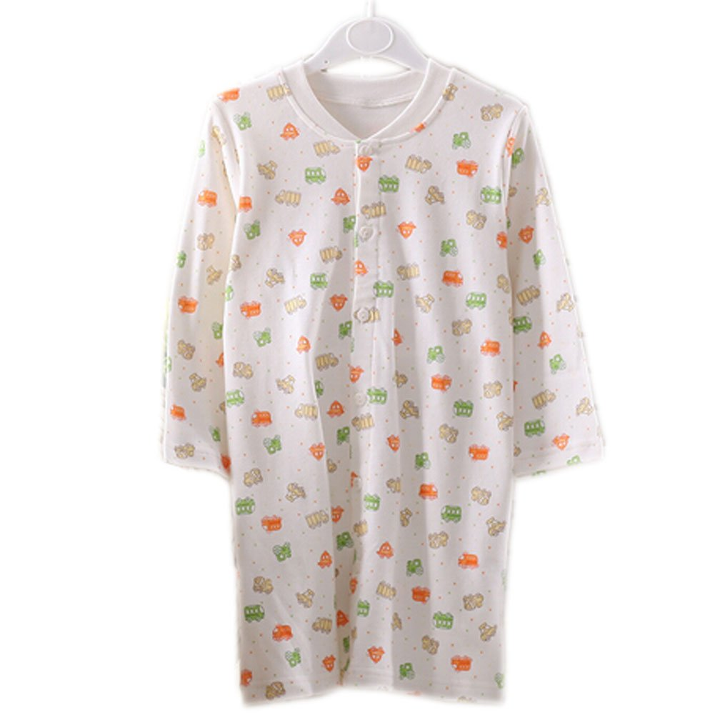 Yellow Print WHITE Infant Sleepwear Baby Toddler Cheese Cloths Nightgown 80-90Cm Blancho Bedding