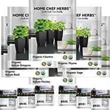 *100% USDA Organic* Highest Quality Non GMO Herb Seeds - Elegantly Designed Variety Packets and Instructions For Home Cooks - Product of U.S.A. - HOME CHEF HERBS - Ideal For Indoor and Outdoor Growing - No Gardening Experience Required - Start Now
