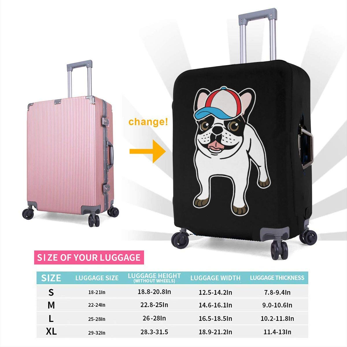 Cute Happy Bulldog Travel Luggage Cover Spandex Washable Suitcase Protector Baggage Covers Fits 18 To 32 Inch
