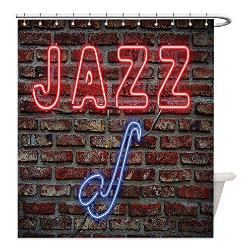 [Liguo88 Custom Waterproof Bathroom Shower Curtain Polyester Jazz Music Decor Collection Image of Bright Neon All Jazz Sign with Saxophone on Brick Print Design Decor Red Blue Decorative bathroom] (All That Jazz Single Chain)