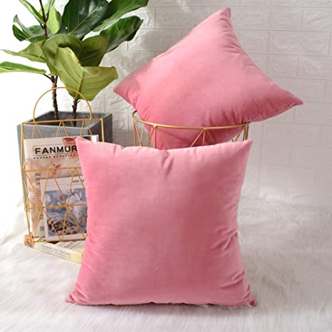Pink Colour Luxury Velvet Home Deocr Cushion Cover Pillow Case 45 x 45 cm