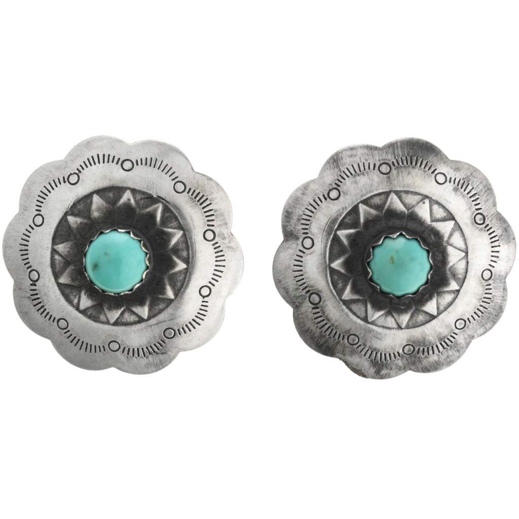 Amazon Turquoise Silver Concho Earrings Native American