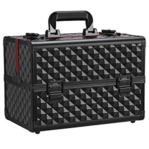 Yaheetech Makeup Train Cases Professional - Travel Makeup Bag Cosmetic Cases Organizer Portable Cosmetic Box Premium Beauty Cosmetic Storage Box