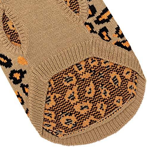 Mihachi Winter Leopard Warm Cat Sweater Fashion Knit Vest for Cats Puppy Small Animals Brown 21