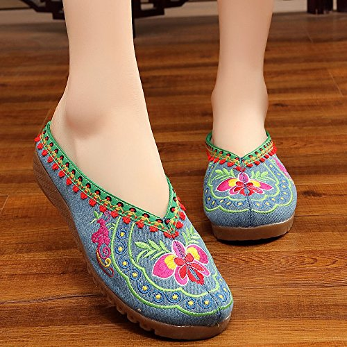 Blue bottom Art Women shoes embroidered Gift Products daily shoes flat IxCpzpAUwq