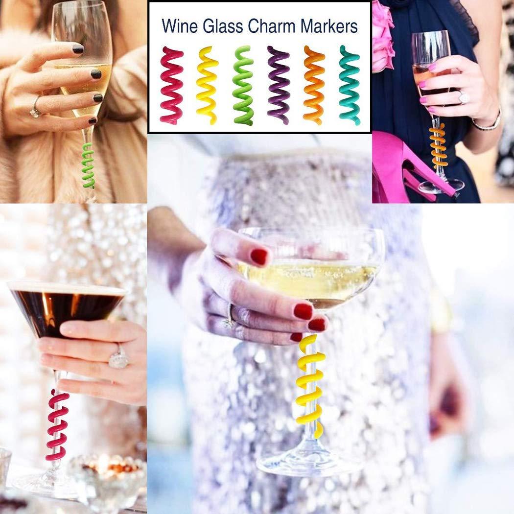 Outgeek Encantos de Copas de Vino Marcador de Copas de Vino Conjunto Creativo Espiral Simple Encantamiento de Copas de Vino Copas de Vino Decoraci/ón para Fiesta Bar Navidad Boda Familia