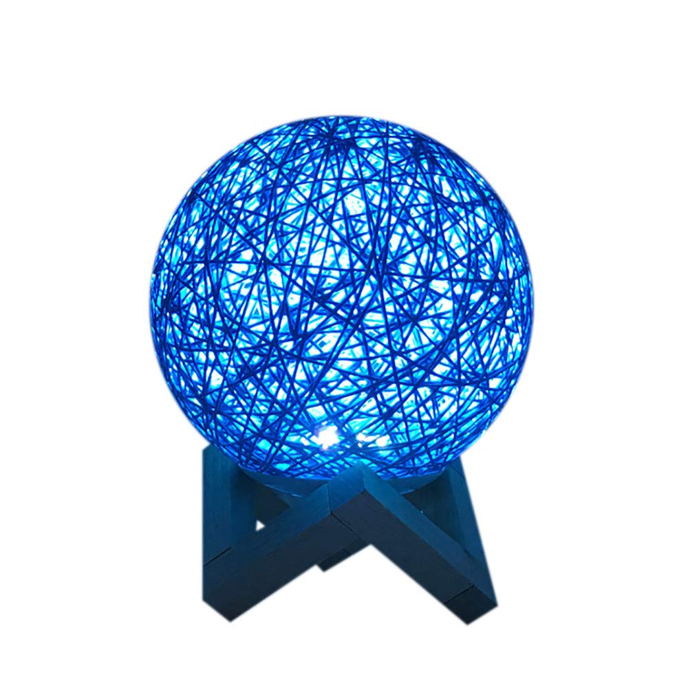 Becoler Rattan Moon Night Light, 3D USB Charging LED Creative Lamp Booklight Light Moonlight Table Desk Fashion Colorful Moon Lamp by Becoler
