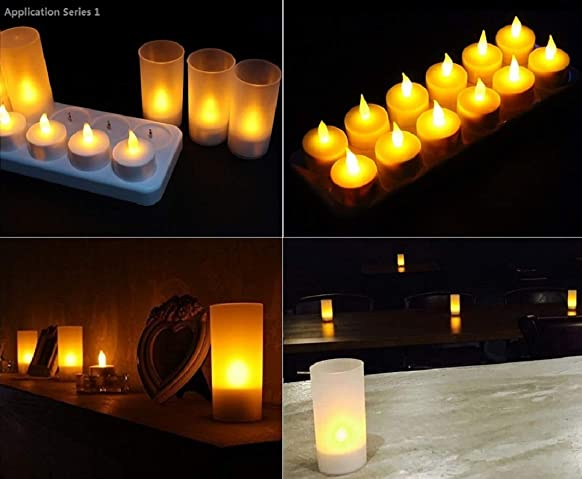 ILYTEX Rechargeable Candles 12pcs , Flickering Flameless Rechargeable LED Pillar Tea Lights,12 hours Long Lasting Battery Operated Candle Tea Light,NO Fire Risk,NO Messy Wax,Ideal For Home Decoration