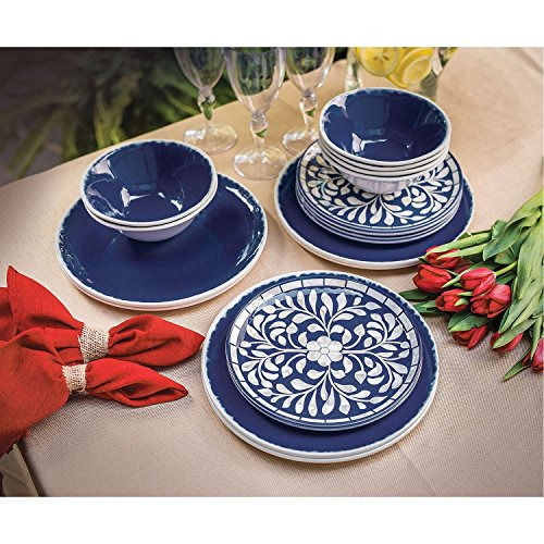Melamine 18-PC Dinnerware Set Cobalt Blue Mother of Pearl Design (Mother Of Pearl Plate)