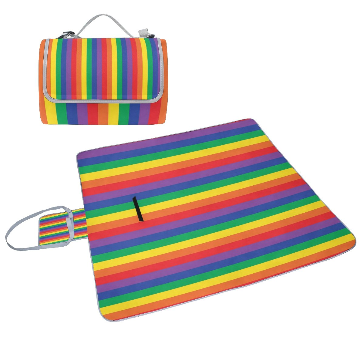 Naanle Rainbow Stripe Plaid Picnic Blanket Outdoor Picnic Blanket Tote Water-Resistant Backing Handy Camping Beach Hiking Mat by Naanle
