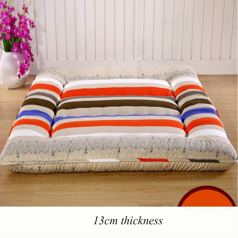 K 90x200cm(35x79inch) Thicken Floor Futon Mattress mat, Ergonomics Foldable Sleeping Tatami Breathable Japanese Bed roll for Student Dorm Living Room-B 90x200cm(35x79inch)