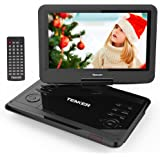 "TENKER 12.1"" Portable DVD Player with Swivel Screen, Rechargeable Battery with SD Card Slot and USB Port (Black)"