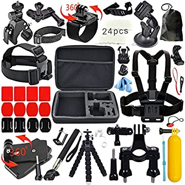Erligpowht Accessories Bundle kit for SJ4000 / SJ5000 Cameras / GoPro Hero 3 2 1 4 3+ (27-Items)