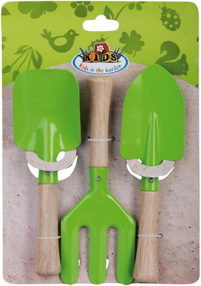 Esschert Design kg10628x 20x 4cm, Madera de plástico/los niños de jardín Tenedor y Paleta Set–Multicolor