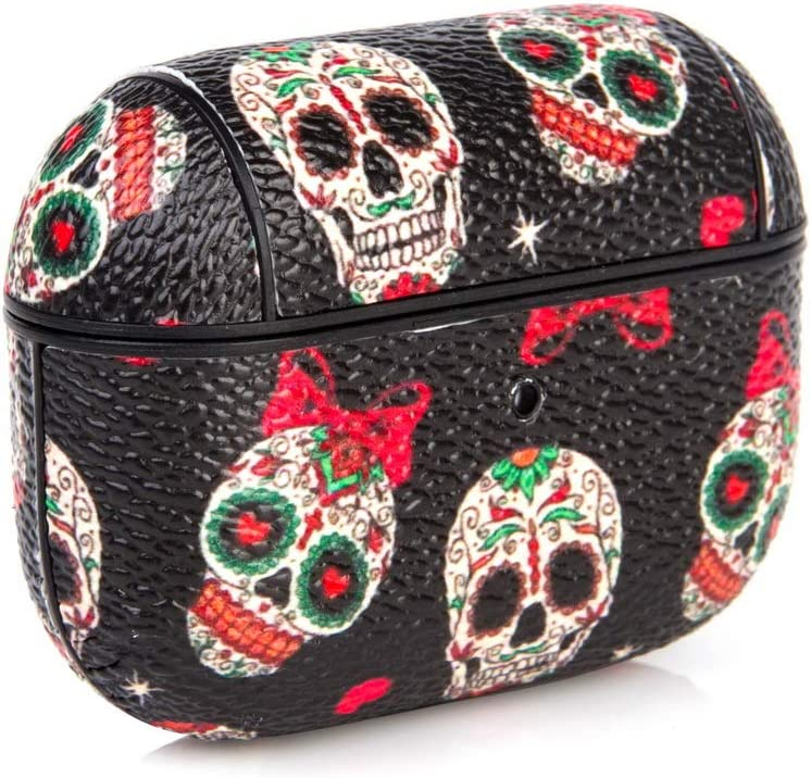 Color Skull BANAUS Cute Airpods Pro Case,Leather Shockpro of AirPods Pro Cover Carabiner,Wireless Headphone Designer Fashion Keychain Skin Protective Stylish Cases Ring for Girls Boys Men Women