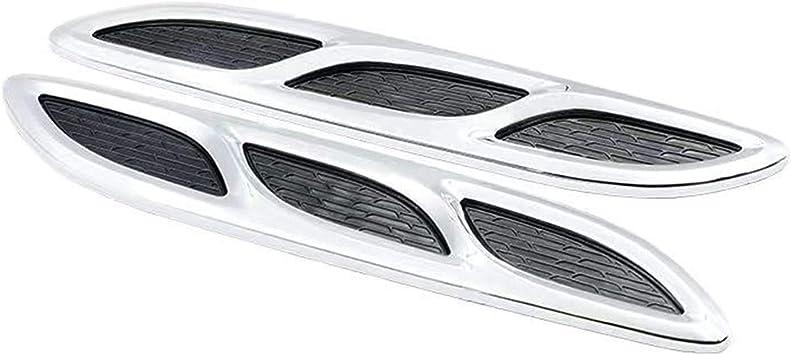 Lufteinlass Motorhaube 2 Stücke Auto Hood Vent Cover Auto Außenanschluss Dekoration Universalhaube Lufteinlass Chrom Silber Lüftungsgitter Küche Haushalt