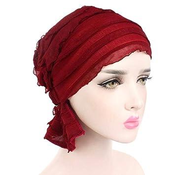 Nahua para Mujer para Mujer con Volantes Chemo Hat Beanie Bufanda Turban Headwear Turbante Musulmán Headwear