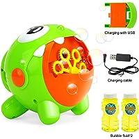 EXTSUD Máquina de Burbujas para Niños, Juguete de Baño para Bebés, con 2 Botellas de Burbujas, Regalo para Niños, Apto para Fiestas, Cumpleaños, Bodas al Aire Libre etc