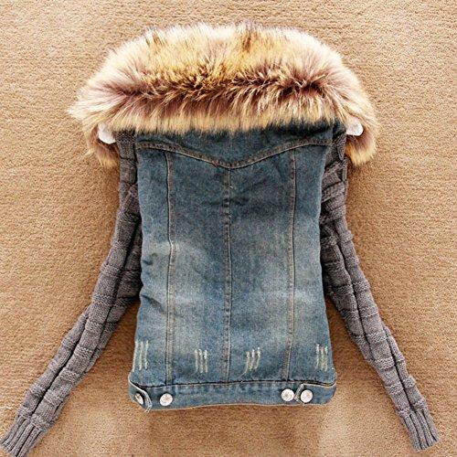 best service 98a67 24318 SaiDeng Donna Giacca Jeans Con Collo Di Pelliccia Capispalla