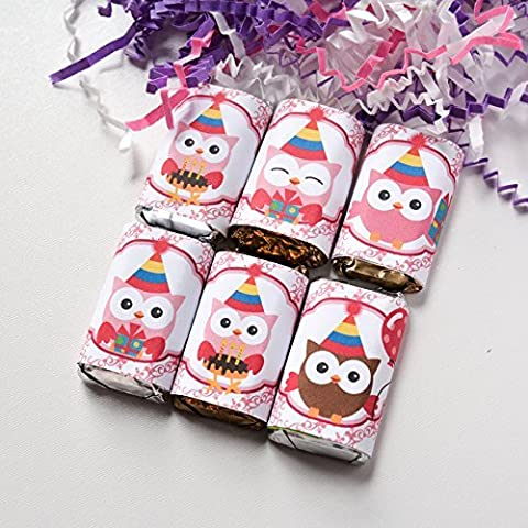 54 Owl Birthday Party Favors Stickers, Owl Candy Wrappers, Owl Party Favors - Hersheys Mini Candy Bar Wrappers