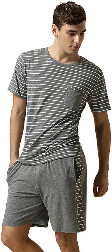 Pijama Hombre Verano Raya, Hombre Ropa de Dormir de algodón, Ropa de Dormir de Manga Corta Camiseta Superior & Pantalones Cortos Pijama Clásico ...