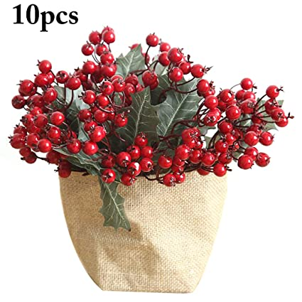 Felice Arts 12 pcs Artificial Pine Picks for Christmas Mixed Small Fake Pine Needles Red Berries and Pinecones Simulated Plastic Bouquet for Christmas Decor Gift Wrappings Greenery Garland