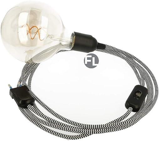 Câble textile avec douille E27, prise et interrupteur | Câble d'alimentation avec prise et interrupteur 2 fils (2 x 0,75 mm²), noirblanc, 1,8 Meter