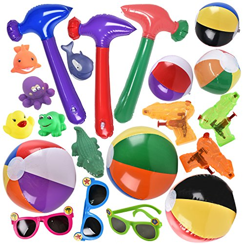 Joyin Toy 21 Pieces Summer Toys, Beach Toys Set - Perfect Pool Party and Beach Party Favors includes Beach Balls, Inflatable Hammers, Sun Glasses, Squirt Toy, Squirt Pistol by Joyin Toy