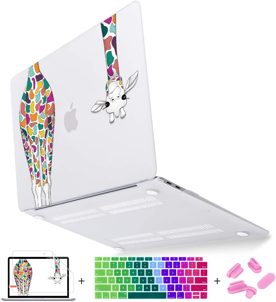 Mektron for MacBook Air 13 Inch Case 2020 2019 2018 Release A1932 A2179,Colorful Giraffe Soft-Touch Frosted See Through Hard Shell Cover Air 13.3 inch Retina Display & Touch ID Laptop Case