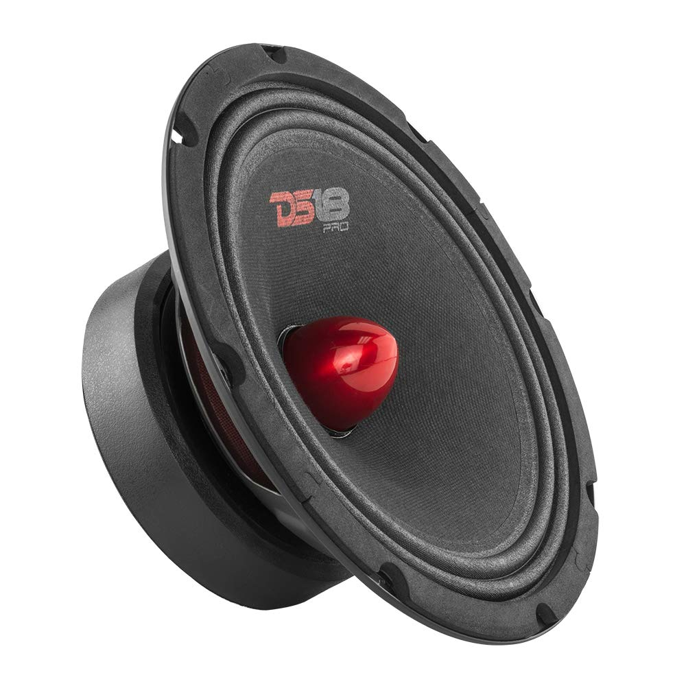 DS18 PRO-GM8.4B Loudspeaker - 8'', Midrange, Red Aluminum Bullet, 580W Max, 4 Ohms,1.5'' Kapton VC, Premium Quality Audio Door Speakers for Car or Truck Stereo Sound System (1 Speaker) by DS18