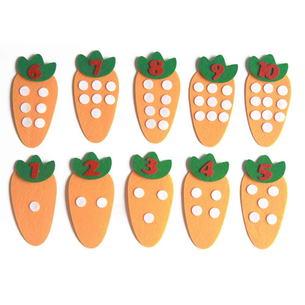 Lx10tqy 10Pcs/Set Non-Woven Carrot Handmade Math Toy Digital Teaching Aid Children DIY Puzzle