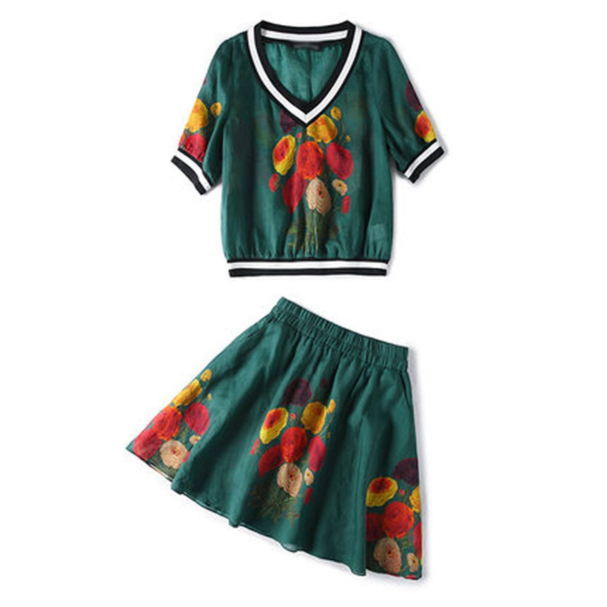 Weing Crop Top And Skirt Set Summer Women Suit Fashion Print 2 Piece Skirt And Blouse Set
