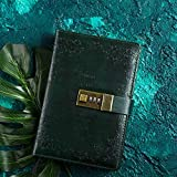 Sinngukaba B6 Retro Faux Leather Office Notebook/Notepad with a Password Lock, Pen Holder, Pocket (Color : Dark Green)